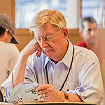 7 August 2016: Pulitzer Prize-winning columnist and conservative political commentator George Will reviews notes prior to a baseball game between the San Francisco Giants and the Washington Nationals at Nationals Park in Washington, DC. The Nationals shut out the Giants 1-0 to take the rubber match of their 3-game series. Mandatory Credit: Ed Wolfstein Photo *** RAW (NEF) Image File Available ***