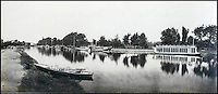 BNPS.co.uk (01202 558833)<br /> Pic: Bonhams/BNPS<br /> <br /> Victor Prout's picture showing the Oxford College's rowing club barges moored along the river.<br /> <br /> 'Old man river, he just keeps rollin' - A remarkable collection of panoramic photographs of the Thames taken 160 years ago have emerged for auction, and they reveal how little the famous old river has changed in the last century and a half.<br /> <br /> They follow the river from London to Oxford in 40 photographs providing a fascinating insight into how the famous river looked in the mid-19th century.<br /> <br /> Londoner Victor Prout started photographing the Thames in 1857 using a camera which would produce wide-vision images because of a lens that swung round and 'scanned' sections of the picture.<br /> <br /> This rare complete copy of the first edition of Prout's pioneering panoramics has emerged for auction and is tipped to sell for &pound;12,000 when they go under the hammer at Bonhams on March 1.