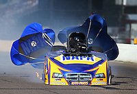 Aug. 17, 2013; Brainerd, MN, USA: NHRA funny car driver Ron Capps explodes an engine shredding the carbon fiber body off his car during qualifying for the Lucas Oil Nationals at Brainerd International Raceway. Capps was uninjured in the explosion. Mandatory Credit: Mark J. Rebilas-