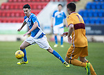St Johnstone U20 v Motherwell U20&hellip;03.10.16.. McDiarmid Park   SPFL Development League<br />Eoghan McCawl is closed down by Jake Hastie<br />Picture by Graeme Hart.<br />Copyright Perthshire Picture Agency<br />Tel: 01738 623350  Mobile: 07990 594431