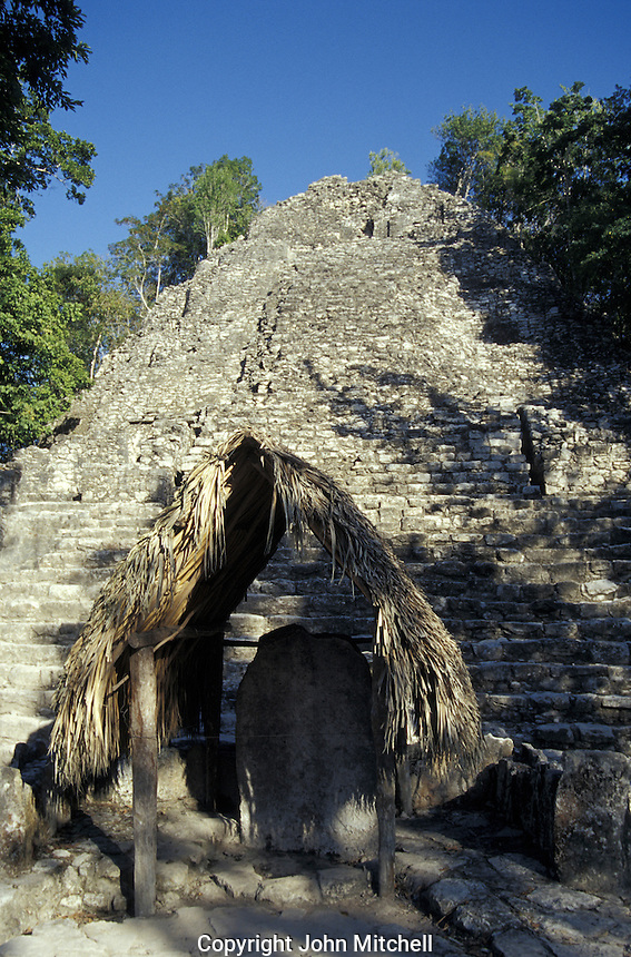 La Iglesia structure in the Grupo Coba, Mayan ruins of Coba, Quintana Roo, Mexico. This pyramid is also known as Templo de las Iglesias.