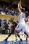 19 December 2013: Albany's Shereesha Richards (left) and Duke's Haley Peters (33). The Duke University Blue Devils played the University at Albany, The State University of New York Great Danes at Cameron Indoor Stadium in Durham, North Carolina in a 2013-14 NCAA Division I Women's Basketball game. Duke won the game 80-51.