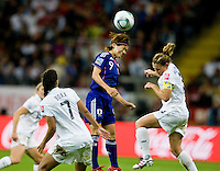 Shannon Boxx, Nahomi Kawasumi, Christie Rampone.  Japan won the FIFA Women's World Cup on penalty kicks after tying the United States, 2-2, in extra time at FIFA Women's World Cup Stadium in Frankfurt Germany.