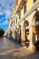 The French built Liston Esplanade  Cafes,  Kerkya, Corfu City, Greek Ionian Islands