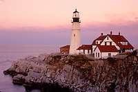 Portland Head Light, lighthouse, Cape Elizabeth, Maine, ME, Portland Head Light on Cape Elizabeth at sunset in Fort Williams Park on the Atlantic Ocean.