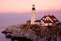 Portland Head Light, lighthouse, Cape Elizabeth, Maine, ME, Portland Head Light on Cape Elizabeth at sunset in Fort Williams Park on the Atlantic Ocean.