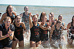 GULF SHORES, AL - MAY 07: The University of Southern California team celebrates their victory over Pepperdine University during the Division I Women's Beach Volleyball Championship held at Gulf Place on May 7, 2017 in Gulf Shores, Alabama.The University of Southern California defeated Pepperdine 3-2 to claim the national championship. (Photo by Stephen Nowland/NCAA Photos via Getty Images)