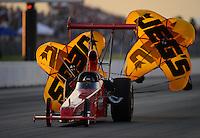 May 18, 2012; Topeka, KS, USA: NHRA top alcohol dragster driver Jeff Vale during qualifying for the Summer Nationals at Heartland Park Topeka. Mandatory Credit: Mark J. Rebilas-