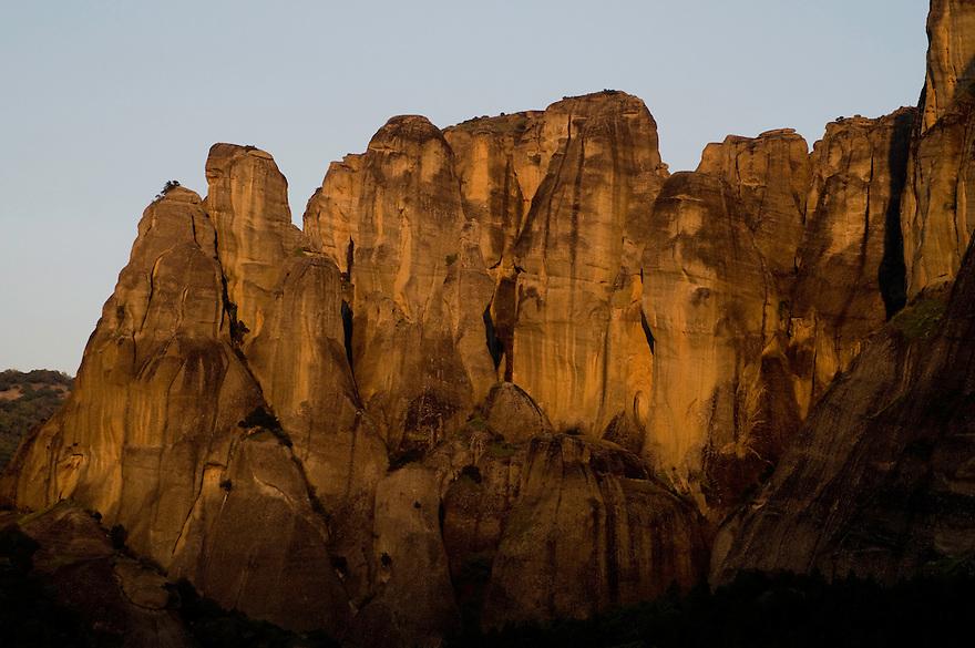 Greece, Meteora, cliffs in sunset