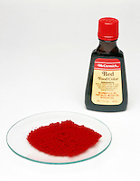 DYE: SOLID &amp; LIQUID<br /> (Variations Available)<br /> Red Food Color &amp; Red Pigment  in Watchglass.
