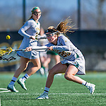 30 March 2016: University of Vermont Catamount Defender Avery Hogarth, a Freshman from Mississauga, Ontario, in second half action against the Manhattan College Jaspers at Virtue Field in Burlington, Vermont. The Lady Cats defeated the Jaspers 11-5 in non-conference play. Mandatory Credit: Ed Wolfstein Photo *** RAW (NEF) Image File Available ***