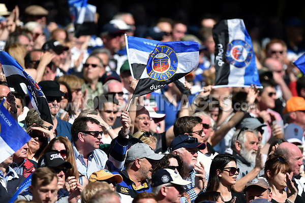 Bath supporters in the crowd celebrate a try. The Clash, Aviva Premiership match, between Bath Rugby and Leicester Tigers on April 8, 2017 at Twickenham Stadium in London, England. Photo by: Patrick Khachfe / Onside Images