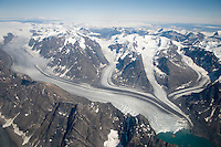 Mountains and valley glaciers on Greenland.
