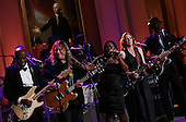 """(L-R) Buddy Guy, Warren Haynes, Shemekia Copeland, Susan Tedeschi and Keb Mo perform with an all-star cast at a White House event titled In Performance at the White House: Red, White and Blues, February 21, 2012 in Washington, DC.  As part of the In Perfomance series, music legends and contemporary major artists have been invited to perform at  the White House for a celebration of Blues music and in recognition of Black History Month. The program featured performances by B.B. King, Troy """"Trombone Shorty"""" Andrews, Gary Clark, Jr., Mick Jagger and Derek Trucks, with Taraji P. Henson as the program host and Booker T. Jones as music director and band leader.  .Credit: Win McNamee / Pool via CNP"""