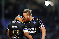 Ross Batty of Bath Rugby congratulates team-mate Ben Tapuai on his second half try. European Rugby Challenge Cup match, between Bath Rugby and Pau (Section Paloise) on January 21, 2017 at the Recreation Ground in Bath, England. Photo by: Patrick Khachfe / Onside Images