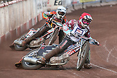 Heat 2: Robert Mear (red) and Joe Haines (white) - Lakeside Hammers vs Wolverhampton Wolves - Elite League Speedway at Arena Essex Raceway - 16/05/11 - MANDATORY CREDIT: Gavin Ellis/TGSPHOTO - Self billing applies where appropriate - Tel: 0845 094 6026