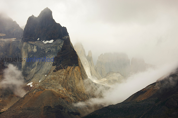 Severe weather is the norm for the Cuernos del Paine (Horns of Paine) in Torres del Paine National Park, Patagonia, Chile.