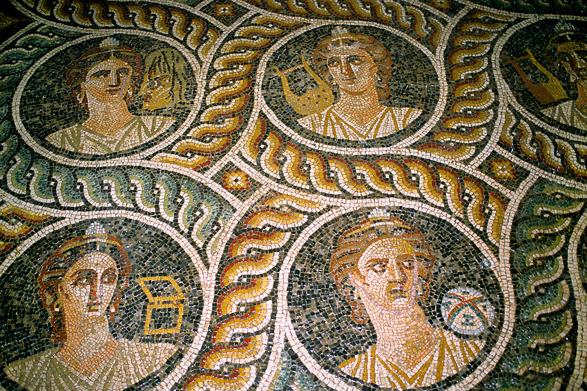 Mosaic floor from Kos, Palace of the Grand Masters, Old Town, Rhodes Town, Rhodes, Dodecanese, Greece