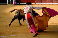 A Spanish bullfighter performs at the bullring in Torremolinos, Spain, 24 July 2006.
