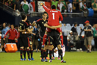 Mexico players celebrate the final whistle... Mexico defeated Canada 3-1 in Olympic Qualifying semi final at LIVESTRONG Sporting Park, Kansas City, Kansas.