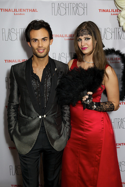 Mark-Francis Vandelli and Gabilicious from Made in Chelsea at the Myflashtrash Halloween Party at Barrio, Soho, London