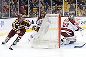 Bill Arnold (BC - 24), Colin Blackwell (Harvard - 63), Raphael Girard (Harvard - 30) - The Boston College Eagles defeated the Harvard University Crimson 4-1 in the opening round of the 2013 Beanpot tournament on Monday, February 4, 2013, at TD Garden in Boston, Massachusetts.