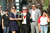 HOT SPRINGS, AR - APRIL 15: Inside Straight owner Randy Howg gives a thumbs up in the winners circle after winning the Oaklawn Handicap at Oaklawn Park on April 15, 2017 in Hot Springs, Arkansas. (Photo by Justin Manning/Eclipse Sportswire/Getty Images)
