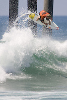 Aussie Mick Fanning boosting an air during round of 96 of the 2010 US Open of Surfing in Huntington Beach, California on August 4, 2010.