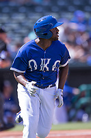 O'Koyea Dickson (7) of the Oklahoma City Dodgers heads to first base after making a hit during a game against the Iowa Cubs at Chickasaw Bricktown Ballpark on April 9, 2016 in Oklahoma City, Oklahoma.  Oklahoma City defeated Iowa 12-1 (William Purnell/Four Seam Images)