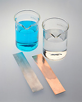 ZINC &amp; COPPER<br /> Metal And Solution<br /> Left to Right: Copper Nitrate (CuNO4) (aq), Zinc Nitrate (ZnNO4) (aq), Zinc (s), Copper (s)