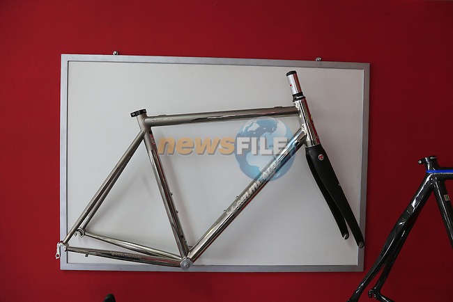 X Fire Titanium frame on display in the showroom at the Tommasini factory based in Grosseto, Tuscany, Italy 6th March 2017.<br /> Picture: Eoin Clarke | Newsfile<br /> <br /> <br /> All photos usage must carry mandatory copyright credit (&copy; Newsfile | Eoin Clarke)