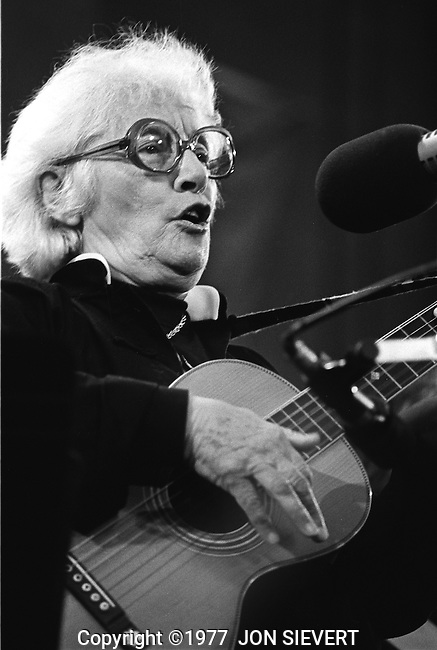 "Malvina Reynolds, Bread & Roses, 10/7/77. American folk/blues singer-songwriter and political activist, best known for her song writing, particularly the song, ""Little Boxes."""