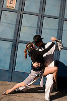 Street performers demonstrate the Tengo in La Boca. Buenos Aires, Argentina