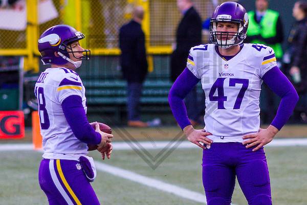 Minnesota Vikings punter Jeff Locke (18) and long snapper Kevin McDermott (47) prior to a game against the Green Bay Packers on December 24th, 2016 at Lambeau Field in Green Bay, Wisconsin.  Green Bay defeated Minnesota 38-25. (Brad Krause/Krause Sports Photography)