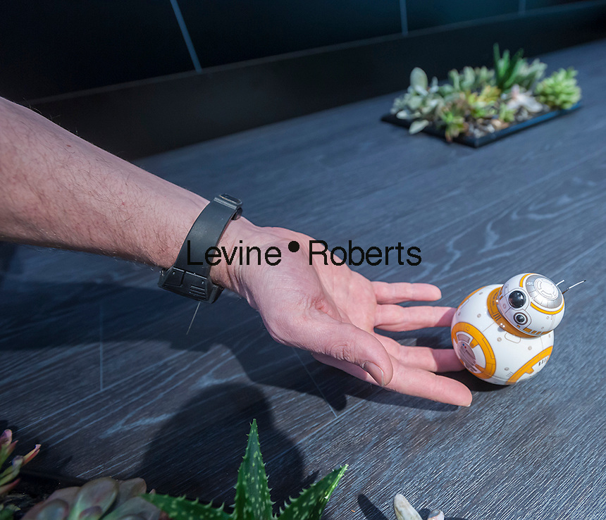 The new wrist controlled Spero Star Wars droid toy at the 113th North American International Toy Fair in the Jacob Javits Convention center in New York on Sunday, February 14, 2016.  The toy is controlled by a device worn on your wrist and hand gestures. (© Richard B. Levine)