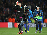 Leicester City's goalkeeper Kasper Schmeichel applauds the fans at the final whistle <br /> <br /> Photographer Stephen White/CameraSport<br /> <br /> UEFA Champions League Quarter Final Second Leg - Leicester City v Atletico Madrid - Tuesday 18th April 2017 - King Power Stadium - Leicester <br />  <br /> World Copyright &copy; 2017 CameraSport. All rights reserved. 43 Linden Ave. Countesthorpe. Leicester. England. LE8 5PG - Tel: +44 (0) 116 277 4147 - admin@camerasport.com - www.camerasport.com