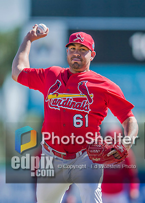 6 March 2016: St. Louis Cardinals pitcher Juan Gonzalez warms up prior to a Spring Training pre-season game against the Washington Nationals at Roger Dean Stadium in Jupiter, Florida. The Nationals defeated the Cardinals 5-2 in Grapefruit League play. Mandatory Credit: Ed Wolfstein Photo *** RAW (NEF) Image File Available ***