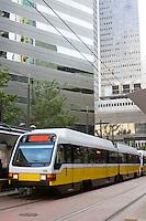 Light rail train in downtown Dallas.
