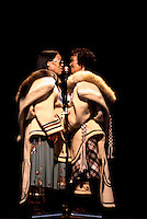 Two Female Eskimo Inuit Throat Singers, from Arctic Canada, singing and performing on Stage (No Model Release Available)