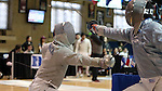 11 February 2017: UNC's Matthew Garrelick (left) and Duke's Duncan De Caire (right) during Saber. The Duke University Blue Devils hosted the University of North Carolina Tar Heels at Card Gym in Durham, North Carolina in a 2017 College Men's Fencing match. Duke won the dual match 19-8 overall, 6-3 Foil, 6-3 Epee, and 7-2 Saber.