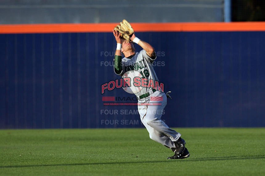 March 27, 2010: Collin Bennett of Hawaii during game against Cal. St. Fullerton at Goodwin Field in Fullerton,CA.  Photo by Larry Goren/Four Seam Images