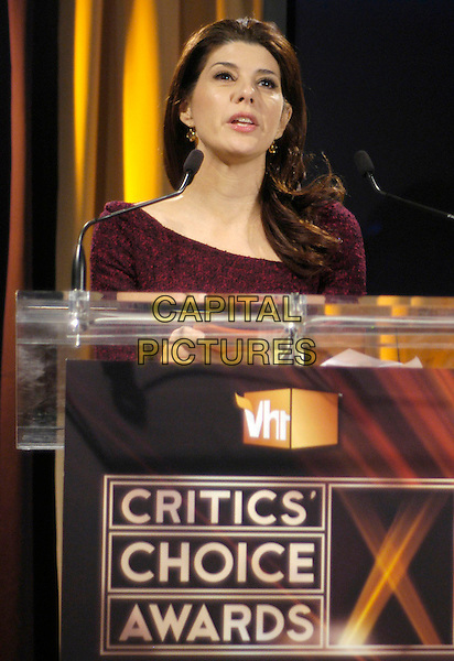 MARISA TOMEI.Nominees for The Broadcast FIlm Critics Association's 13th Annual Critic's Choice Awards are revealed live from VH1 Headquarters in Times Square, New York, New York, USA, 11 December 2007..portrait headshot speaking.CAP/ADM/BL.©Bill Lyons/AdMedia/Capital Pictures. *** Local Caption ***