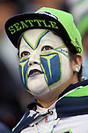 Seattle Seahawks fan wears face paint while watching the game against the San Francisco 49ers at CenturyLink Field in Seattle, Washington on November 22, 2015.  The Seahawks beat the 49ers 29-13.   ©2015. Jim Bryant Photo. All RIghts Reserved.