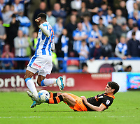 Huddersfield Town's Rajiv van La Parra is tackled by Sheffield Wednesday's Kieran Lee<br /> <br /> Photographer Chris Vaughan/CameraSport<br /> <br /> The EFL Sky Bet Championship Play-Off Semi Final First Leg - Huddersfield Town v Sheffield Wednesday - Saturday 13th May 2017 - The John Smith's Stadium - Huddersfield<br /> <br /> World Copyright &copy; 2017 CameraSport. All rights reserved. 43 Linden Ave. Countesthorpe. Leicester. England. LE8 5PG - Tel: +44 (0) 116 277 4147 - admin@camerasport.com - www.camerasport.com
