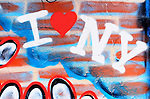 I love New York Graffiti on a Red Brick Wall, Manhattan, New York City.