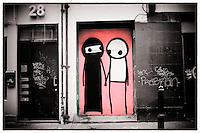 Street art by Stik, Shoreditch, East London