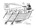 (A galley ship screening a feature film for the rowers)