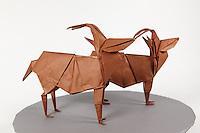 Origami antelope designed by John Montroll folded by Rob Ribaudo.