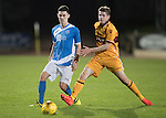 St Johnstone U20 v Motherwell U20&hellip;03.10.16.. McDiarmid Park   SPFL Development League<br />Eoghan McCawl is closed down by Jack McMillan<br />Picture by Graeme Hart.<br />Copyright Perthshire Picture Agency<br />Tel: 01738 623350  Mobile: 07990 594431