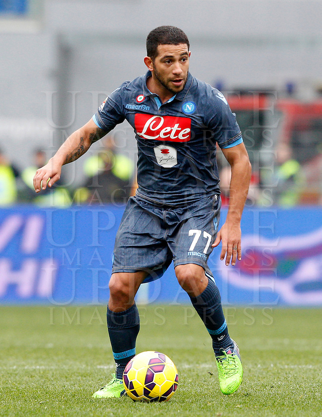 Calcio, Serie A: Lazio vs Napoli. Roma, stadio Olimpico, 18 gennaio 2015.<br /> Napoli&rsquo;s Walter Alejandro Gargano in action during the Italian Serie A football match between Lazio and Napoli at Rome's Olympic stadium, 18 January 2015.<br /> UPDATE IMAGES PRESS/Riccardo De Luca